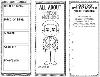 This two-sided tri-fold Nelson Mandela biography brochure template allows students to dig deeper into facts about the human rights activist. An interactive notebook pocket has been provided, however, these brochures can be created as a stand alone project as well.If you need MORE than 2, this HUGE bundle of human rights activists is just $3.50!