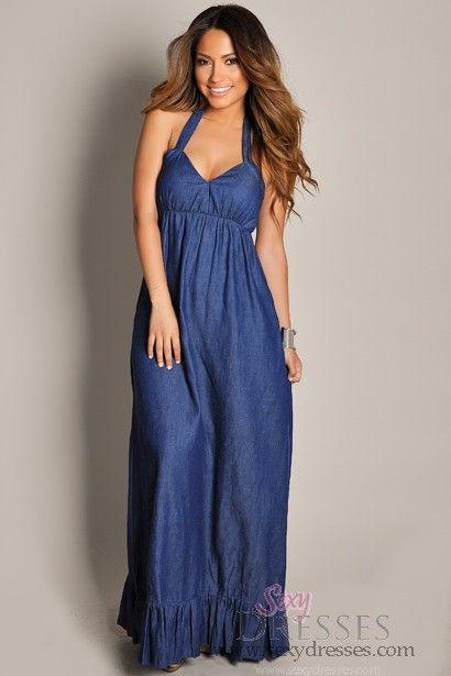 c16f14bfdaa Sleeveless Indigo Blue Halter Ruffle Hem Maxi Dress