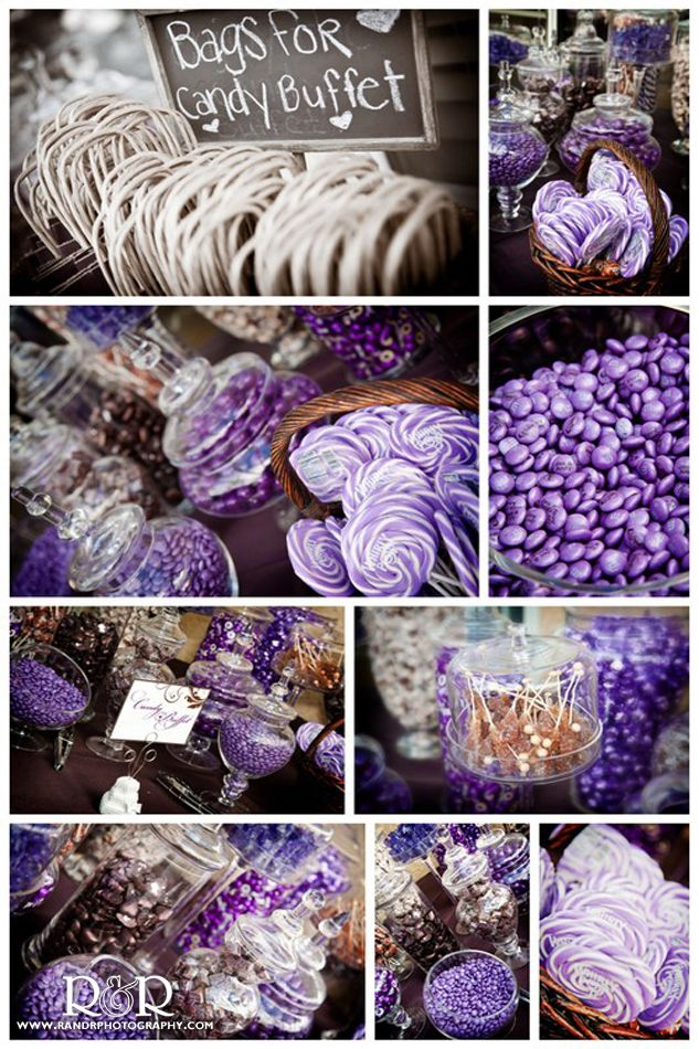 Being that you don't like liquor...we should TOTALLY have a CANDY BAR at  your wedding!!!! Wedding Candy Bar in Purple & Brown...