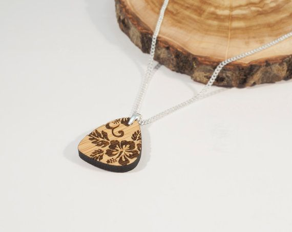 Bamboo and Solid Silver Pendant with Hibiscus by BeamDesigns