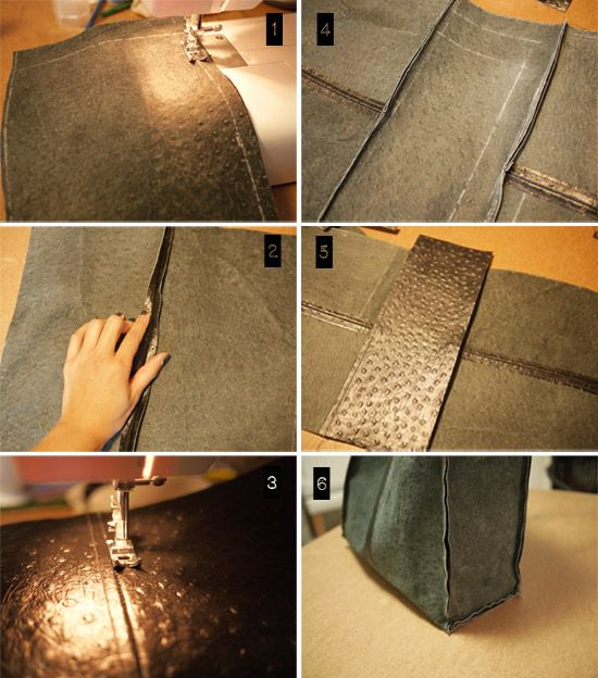 """project 22: DIY LEATHER TOTE Good tutorial. Don't want to """"piece"""" it together this way though as the less cuts you have the more durable and less sewing."""