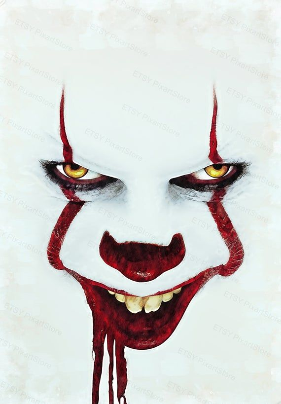How To Draw Pennywise Face : pennywise, Pennywise, Stephen, King,, Print,, Abstract, Painting,, Colorful, Scary, Drawings,, Horror, Movie, Painting