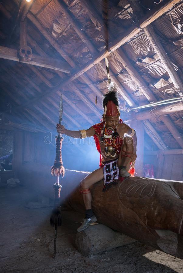 Konyak Warrior Inside Hid Hut At Hornbill Festival Nagaland India Asia Stock Photography Nagaland India Asia Hut