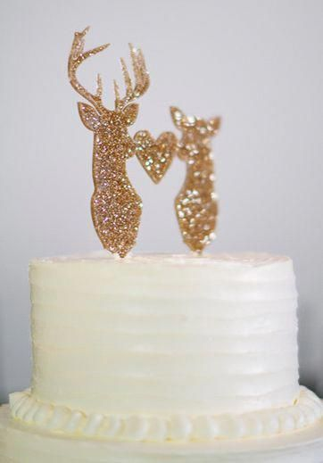 Genius Ideas To Show Off Your Style This Glitter Buck And Deer Cake Topper Has A Rustic Feel While Keeping Wedding Cl