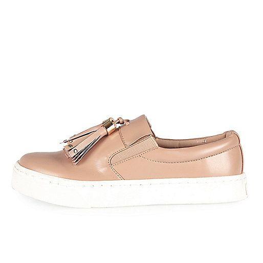 Nude tassel plimsolls - plimsolls / trainers - shoes / boots - women
