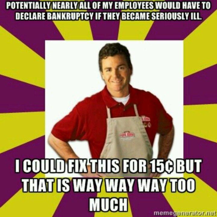 Sad but true. Boycotting Papa John's Pizza, this guy's a glassbowl.