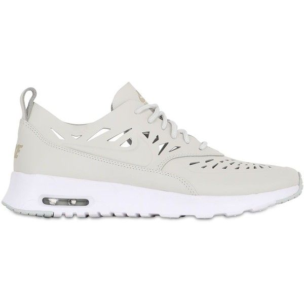 NIKE Air Max Thea Joli Leather Sneakers - Off White ($170) ❤ liked on Polyvore featuring shoes, sneakers, off white, vintage white shoes, nike, real leather shoes, rubber sole shoes и cut-out shoes