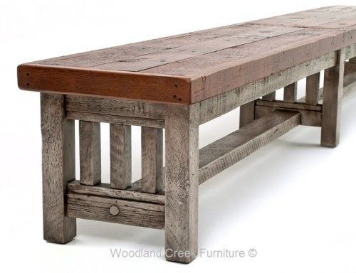 Reclaimed Barn Wood Bench in a Mission Style with Gray Wash Base and Natural Top