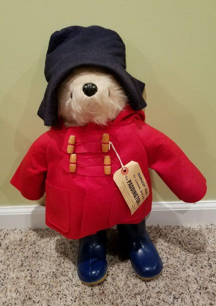 "RARE VINTAGE MINT MOHAIR PADDINGTON BEAR 19"", GABRIELLE HAND MADE IN ENGLAND…"