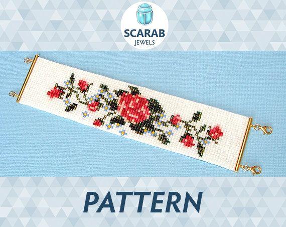 Bead Loom Pattern: Vintage Rose Stitch Bracelet / by ScarabJewels