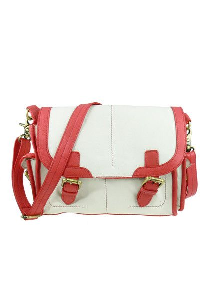 Traveller Leather Satchel - Coral / Ivory $259.95 #leethal #accessories #fashion