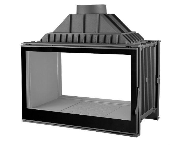 Kamineinsatz, Durchsicht-Tunnelkamin, EK 9 DF-blackglass 830,ext. Luft, 2-türig