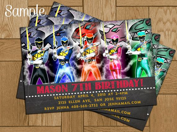 11 best Power Ranger Party images – Power Rangers Party Invitations