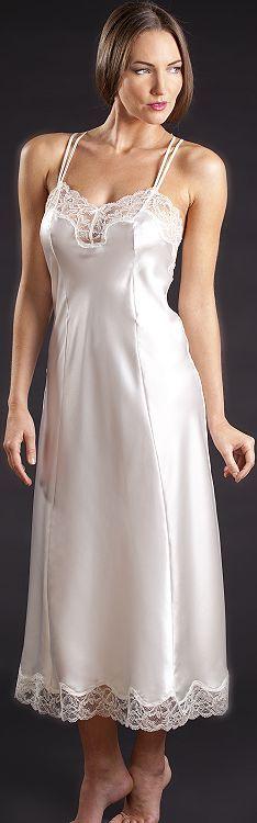 Long silk nightdress, bias cut in five panels.