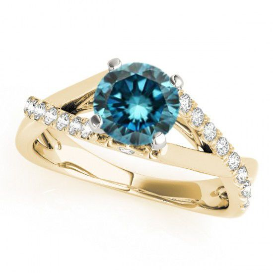 1.23 Ct Fancy Blue Diamond Solitaire Engagement Ring Gorgeous 14k Yellow Gold #Solitaire