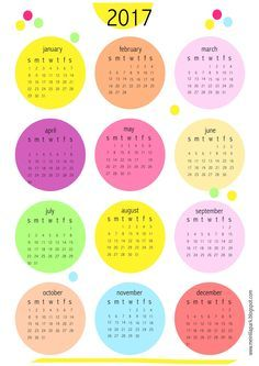 Yes, I created another free printable 2017 calendar for you! :-) Another whole year at a glance calendar with bubble design. The color...