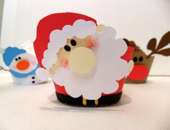 Cupcake Wrappers Santa - Pick Your Colours - Set of 12 $18.15 #santa #xmas #cupcake