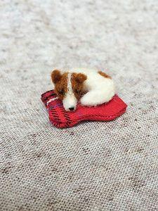 Mini Jack Russell Terrier Very Tiny Sleeping Dog Miniature Bear Needle Felted | eBay