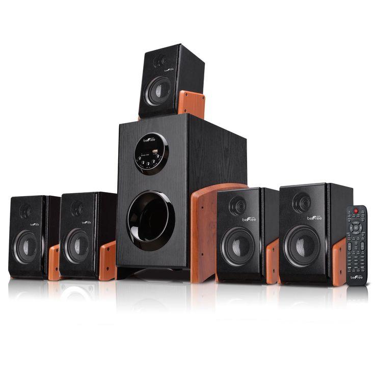 beFree Sound 5.1 Channel Surround Sound Bluetooth Speaker System -Wood - Reconditioned