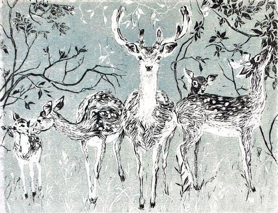 Deer Art Printthe Deer FamilyWall decorwoodland by ElfinLilac