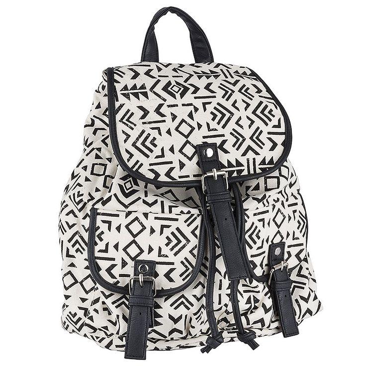 Achilleas Accessories - Προϊόντα : New Collection | SS 2015 / Τσάντες / Backpacks / ΤΣΑΝΤΑ ΠΛΑΤΗΣ ΑΣΠΡΟΜΑΥΡΗ TRIBAL