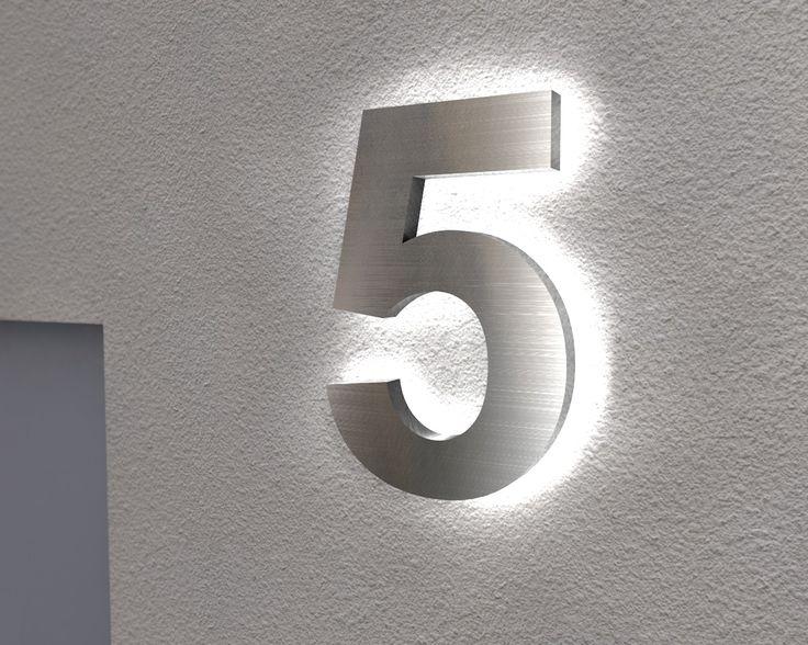 Stunning Beleuchtete Edelstahl Hausnummer mit Led Hintergrundbeleuchtung
