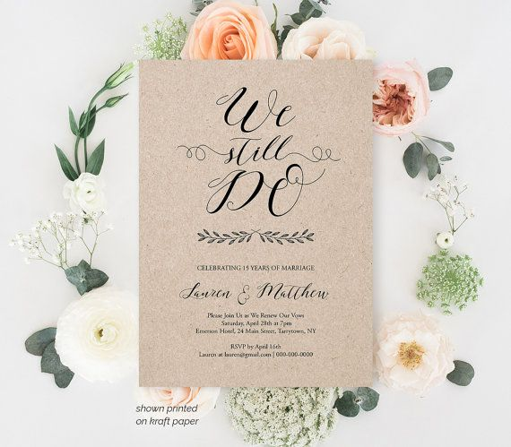 Vow Renewal Invitation Template, We Still Do, Calligraphy, Instant Download, Wedding Anniversary, Renew Vows, Editable Text, PDF #024-109VR