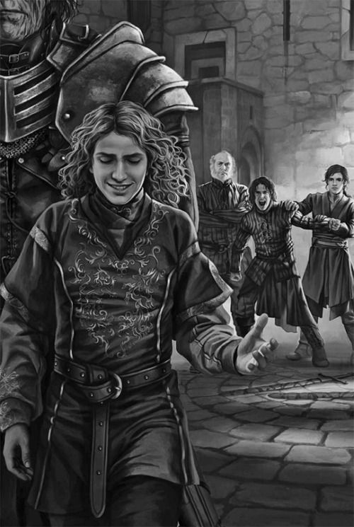 "twoiafart: ""A Game of Thrones: The Illustrated Edition: ""JoffreyBaratheon & Robb Stark"" """"I am training knights,"" Ser Rodrik said pointedly. ""They will have steel when they are ready. When they are of an age."" The burned man looked at Robb. ""How old..."