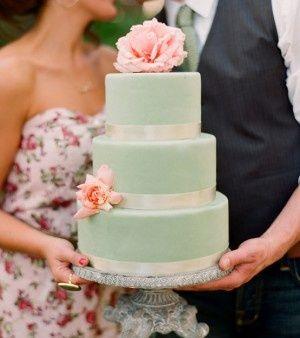 blush and mint Wedding Cakes | mint + blush color scheme