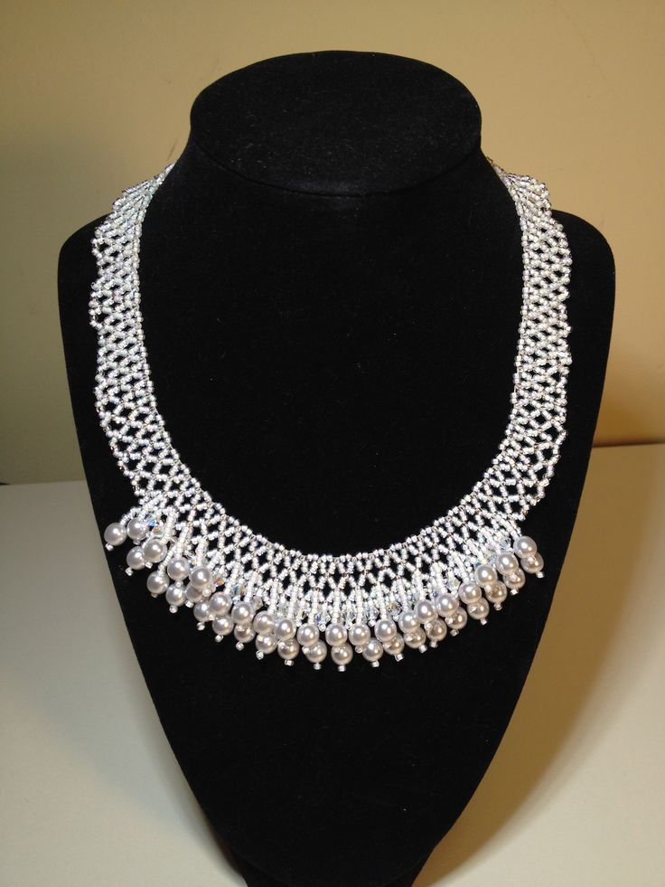 Glass Pearl & Bicone Crystal Netted Necklace selling for $25. manoncreativemoments@gmail.com