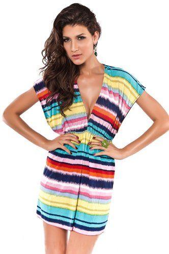 Farbenfrohes und Luftiges Sexy figurbetonendes Strandkleid Batik Sommerkleid Freizeit Kleid Größe S-L