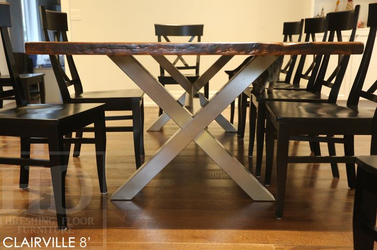 Cambridge, Ontario Reclaimed Wood Metal Base Table Made by HD Threshing Floor Furniture  www.hdthreshing.com Email directly at rw@table.ca