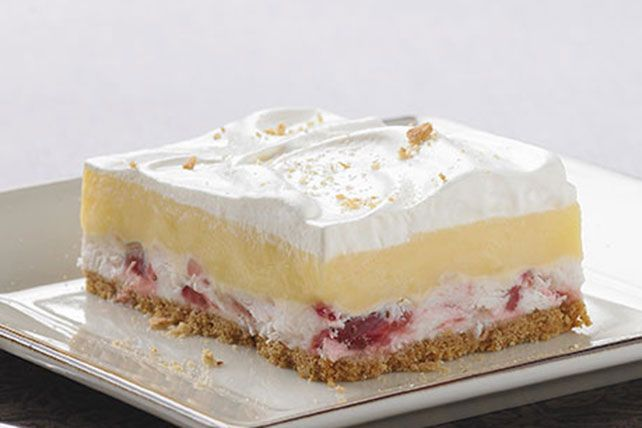 Potluck no-bake squares don't get any sweeter than this: creamy vanilla pudding over a strawberry layer and graham cracker crust.