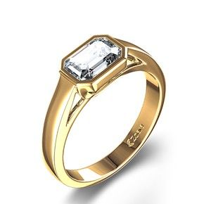 Bezel Set Emerald Cut Diamond Engagement Ring in 14k Yellow... review at Kaboodle