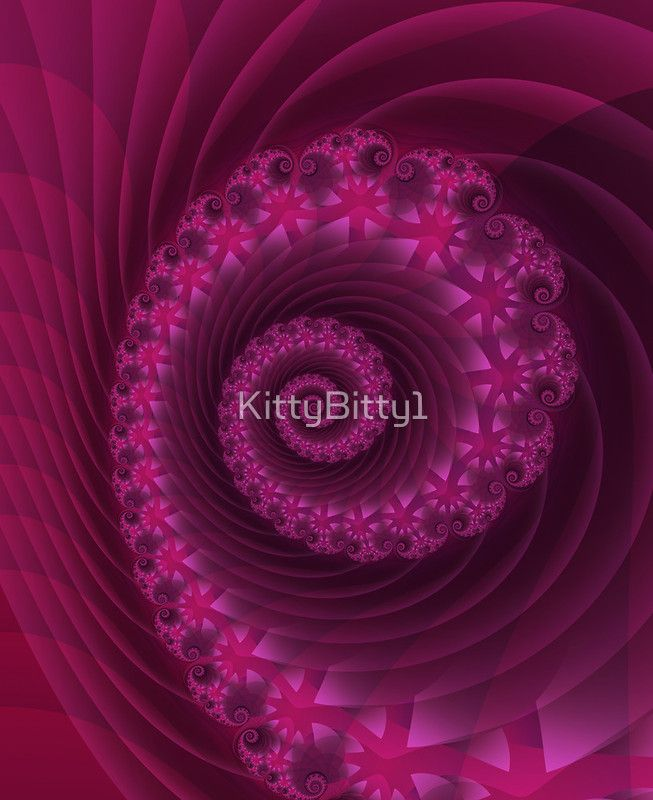 Beautiful Magenta Spiral Fractal. Kitty Bitty Red Bubble