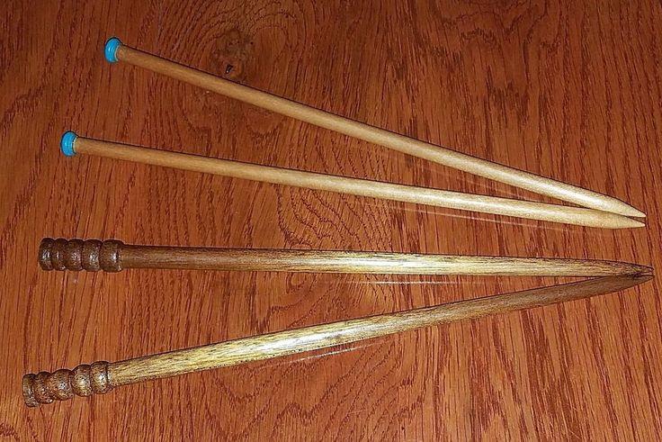 """4 Vintage Wooden Knitting Needles: 2 Spindlewood-14"""" & 2 Susan Bates-14"""", 10 1/4 #SusanBates"""