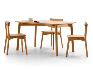 Esstisch Arne Kernbuche 140 x 90 cm Stuhl Arne in Kernbuche, Breite 41 cm, Tiefe 49 cm, Sitzhöhe 46,5 cm, Gesamte Höhe 78,5 cm