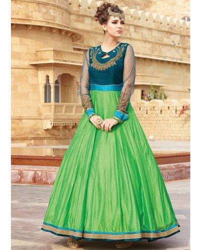 1. Green embroidery taffeta silk dress 2. Designer hand work on neck with sleeves 3. Comes with full sleeve 4. Can be stitched upto size 40 inches