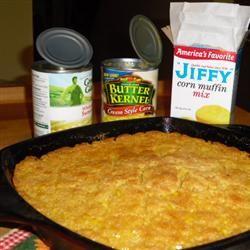 Cornbread Casserole...drain 1 can whole kernel corn, add 1can cream style corn, 8oz sour cream, 1 stick melted butter, 2 eggs slightly beaten, 1 box jiffy cornbread mix. Bake uncovered 350 for 30 minutes. Delicious!