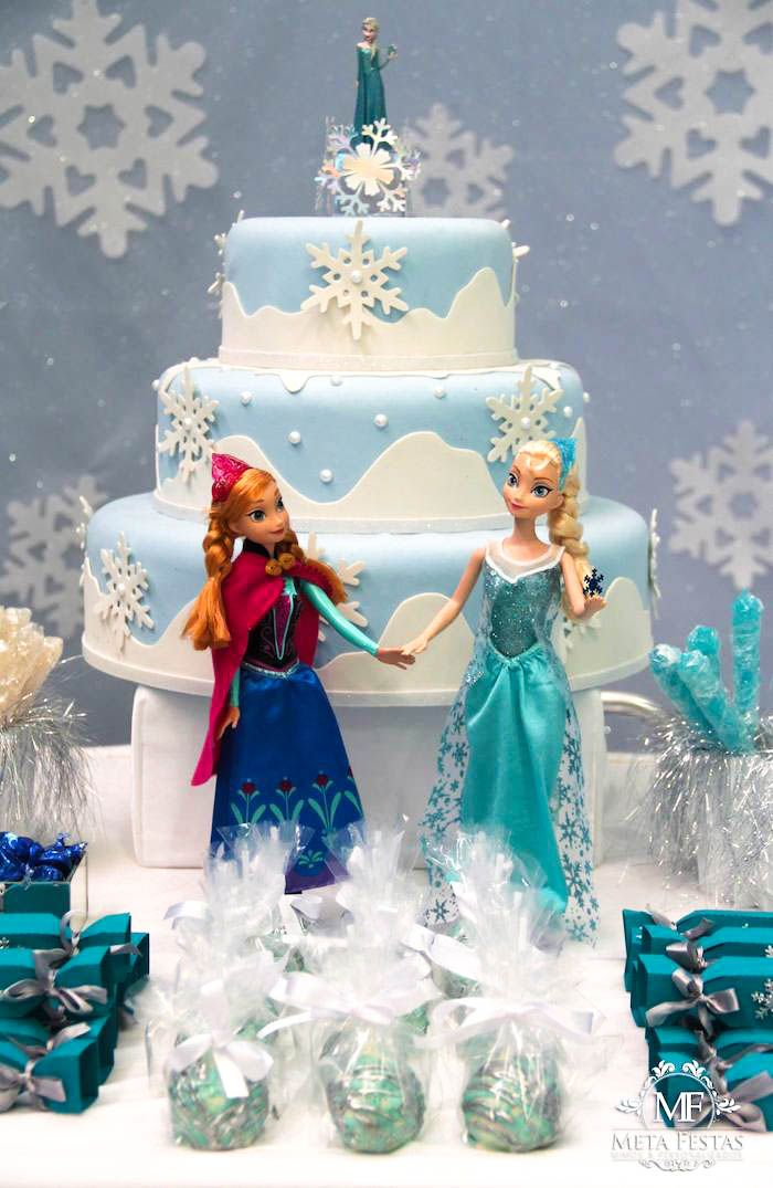 frozen birthday cake themes | Frozen themed birthday party with Lots of Really Cute Ideas via Kara's ...