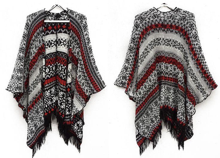 ATMOSPHERE; ponczo; Ornament; w kolorze burgundowo-biało czarnym; frędzle