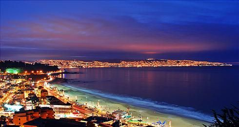 Reñaca, Viña del Mar and Valparaíso, Chile. God, I miss seeing this.