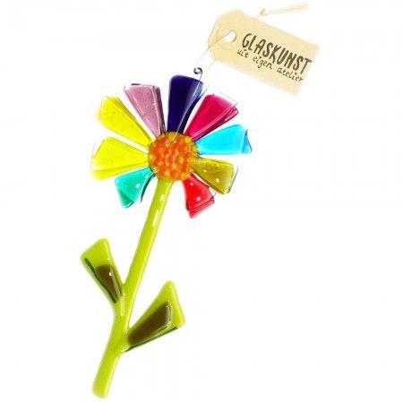 Glazen bloem van kleurrijk glas. Handgemaakte glazen suncatcher/hanger voor huis & tuin decoratie.