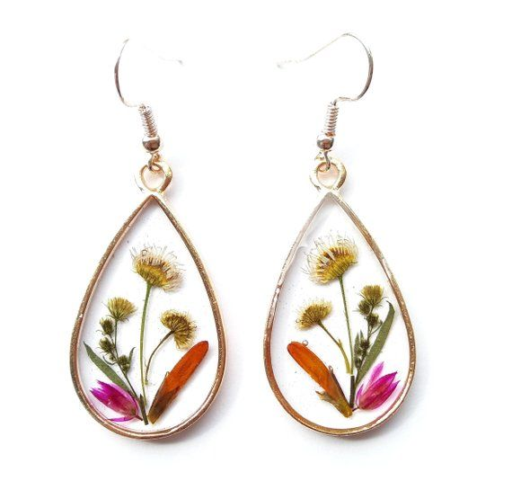Resin Jewelry Bridal jewellery set Statement jewelry Real Flower Jewellery Gift for bride Pressed flower jewelry set Botanical Jewelry