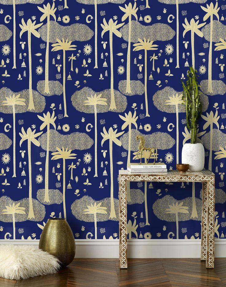 Love Justina Blakeney's wall paper! Cosmic Desert (Cobalt)
