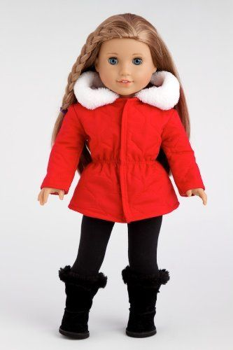 Winter Extravaganza - Red Quilted Parka with Black Leggings (Boots not included) - 18 Inch American Girl Doll Clothes  Price : $25.97 http://www.dreamworldcollections.com/Winter-Extravaganza-Leggings-included-American/dp/B00ITBX59A