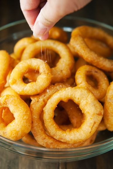 onion rings recipe beer and vodka batter. Perfect game day snack, superbowl