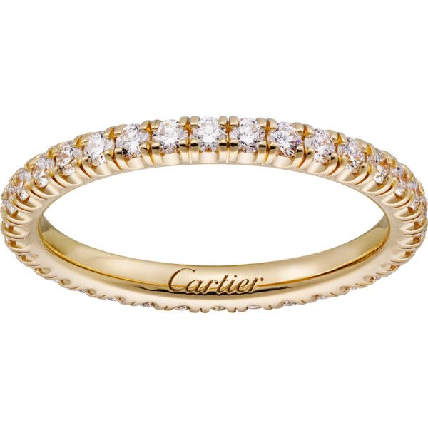 Étincelle de Cartier wedding band Yellow gold, diamonds (29.610 DKK) ❤ liked on Polyvore featuring jewelry, rings, gold wedding rings, yellow gold rings, 18 karat gold ring, gold diamond rings and 18k ring