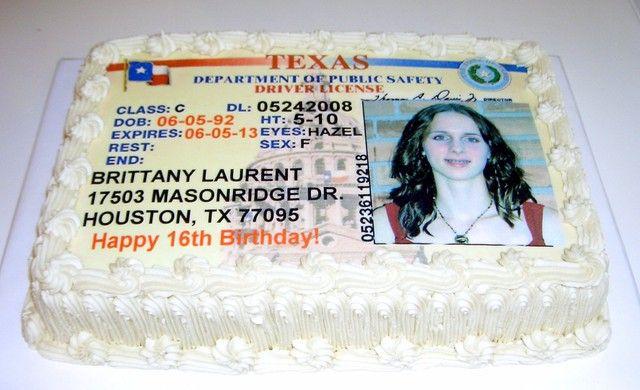 Drivers License Cake Boys 16th Birthday Cake Adult