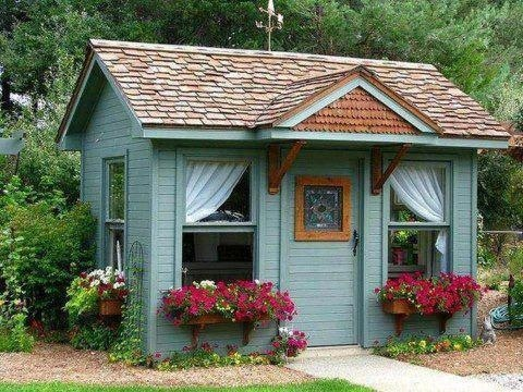 Cute shed turned into playhouse to build pinterest sheds - Cottage garden shed pictures ...